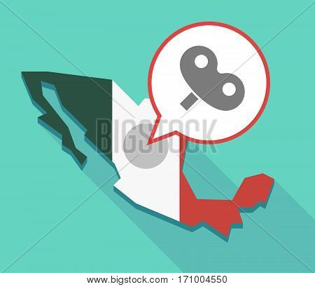 Long Shadow Mexico Map With A Toy Crank