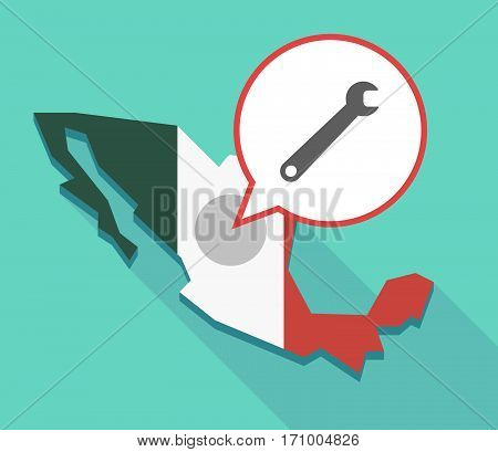 Long Shadow Mexico Map With A Spanner
