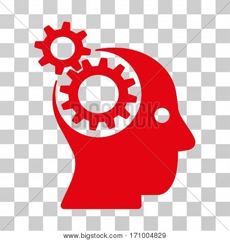 Intellect Gears icon. Vector illustration style is flat iconic symbol red color transparent background. Designed for web and software interfaces.