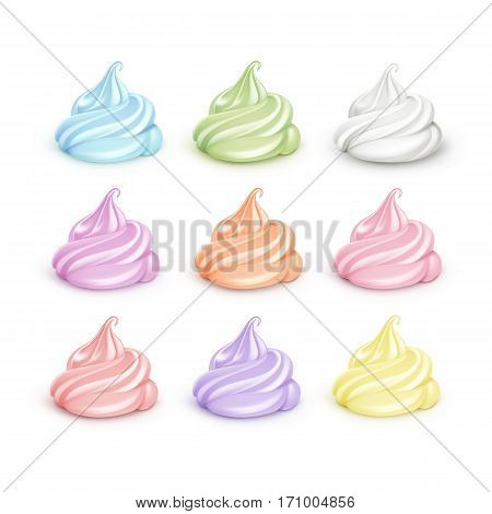 Vector Set of Realistic Colored White Light Blue Pink Yellow Orange Brown Green Lilac Whipped Cream for Dessert Cupcakes Soft Served Ice Cream Close up Isolated on Background.