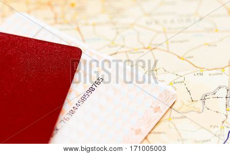 Passport, boarding pass ticket and map. Travel or journey concept