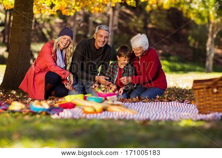 Happy multi-generation family sitting at park during autumn