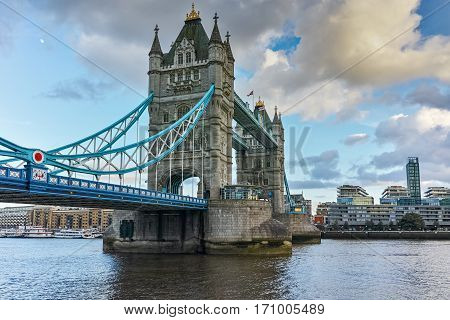 Sunset panorama of Tower Bridge in London in the late afternoon, England, United Kingdom
