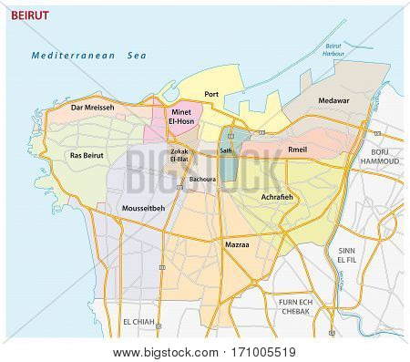 Road, administrative and political map of the Lebanese capital Beirut