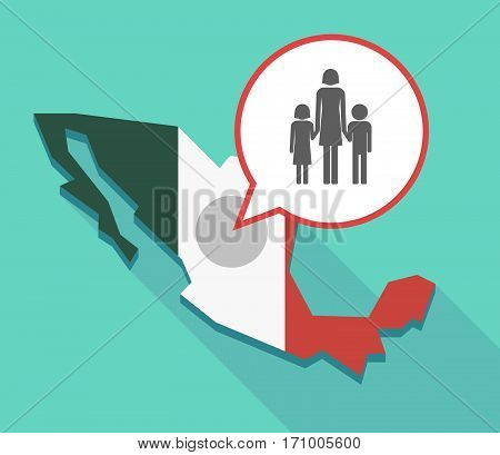 Long Shadow Mexico Map With A Female Single Parent Family Pictogram
