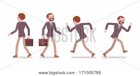 Set of male professional teacher in formal wear, walking and running poses, hurry for the lesson, on the way to shool or college, full length, front and rear view, isolated against white background