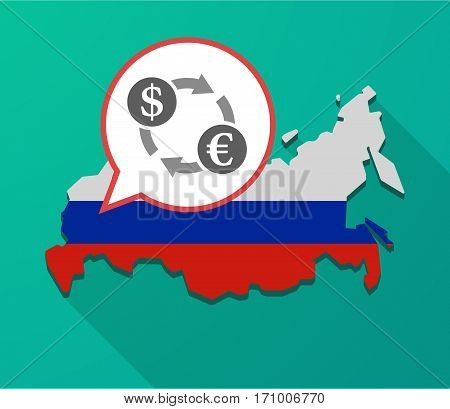 Long Shadow Russia Map With A Dollar Euro Exchange Sign