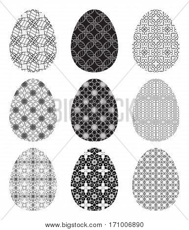 Set Of Black And White Eggs Decorated With Patterns. Collection Of Easter Symbols Isolated On White