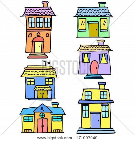Vetor illustration house colorful set collection stock