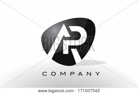 AP Logo. Letter Design Vector with Red and Black Colors.