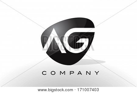 AG Logo. Letter Design Vector with Red and Black Colors.