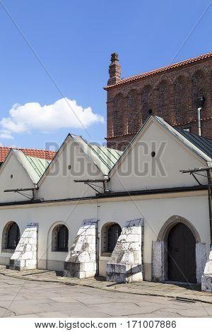 Old synagogue in jewish district of Krakow - Kazimierz on Szeroka street Poland
