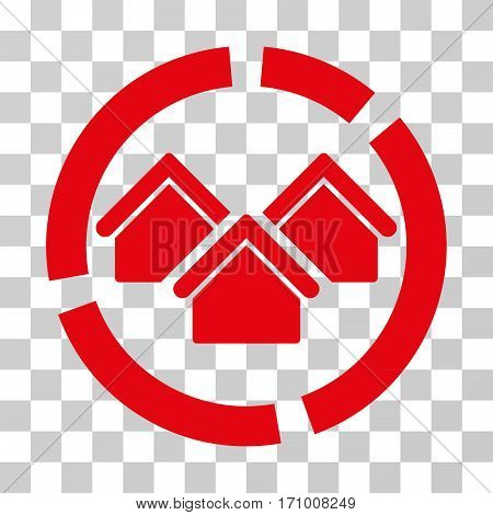 Realty Diagram icon. Vector illustration style is flat iconic symbol red color transparent background. Designed for web and software interfaces.