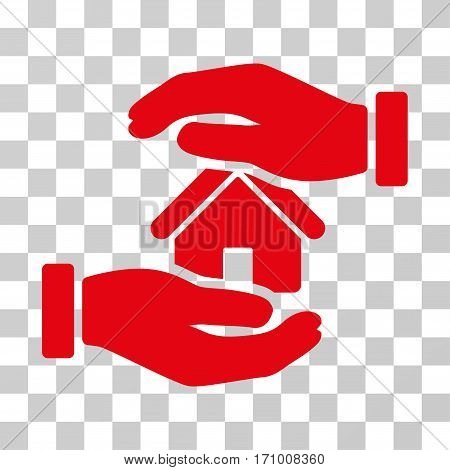 Realty Insurance icon. Vector illustration style is flat iconic symbol red color transparent background. Designed for web and software interfaces.
