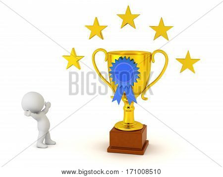 A 3D character cheering and looking up at a large golden trophy with blue ribbon and stars. Isolated on white background.