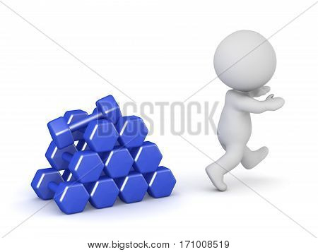 A 3D character running away from a small stack of dumbell weights. Isolated on white background.