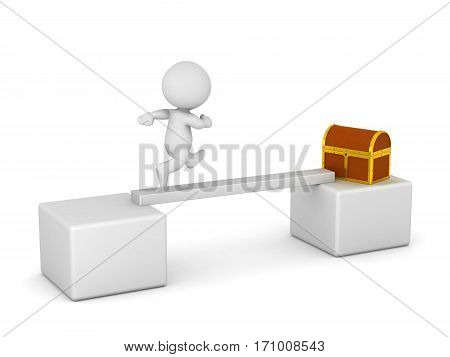A 3D character running on a narrow bridge toward a treasure chest. Isolated on white background.
