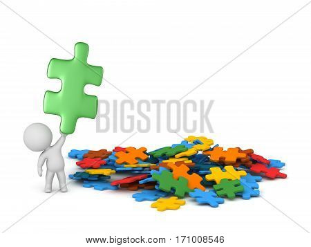 3D character with colorful puzzle pieces holding up one piece. Isolated on white background.
