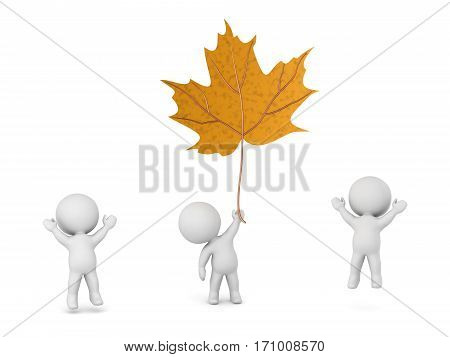 3D characters with a large autumn leaf. Isolated on white background.