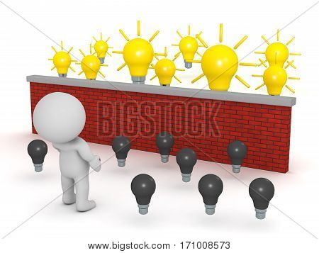 A 3D character with dark bulbs and with lit bulbs on the other side of a brick wall. Isolated on white background.