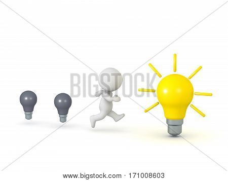 3D character running away from bad ideas toward a lit light bulb good idea. Isolated on white background.