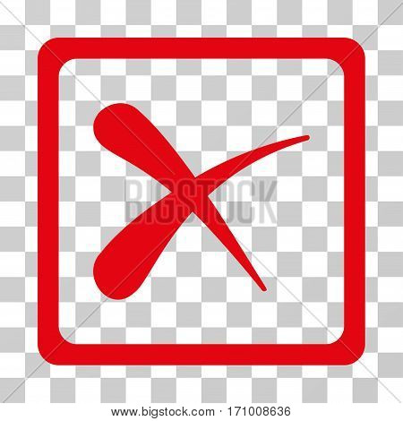 Reject icon. Vector illustration style is flat iconic symbol red color transparent background. Designed for web and software interfaces.