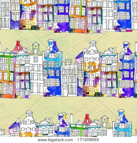 Netherlands houses hand drawn seamless pattern. Doodle background. Watercolor illustration with Amsterdam city, urban style design. Old town. City center, historic buildings. Europe.