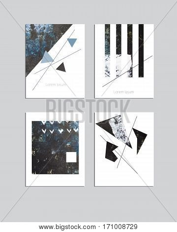 Vector contemporary geometrical greeting card set. Hand drawn acrylic abstract template for cards flyers brochures business birthday anniversary wedding party invitation holidays.