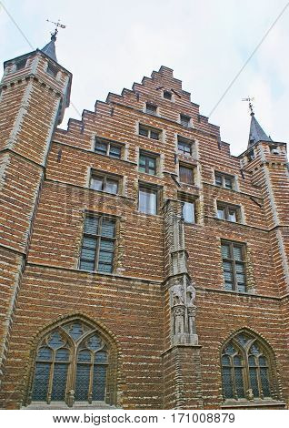 The facade of Vleeshuis (Butcher's Hall) the medieval guildhall nowadays serving as the museum Antwerp Belgium.