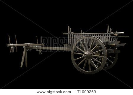 wooden cart isolated on black background isolate
