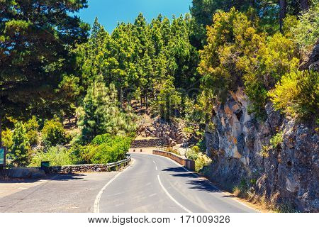 Route In The Mountains In Tenerife Island, Spain