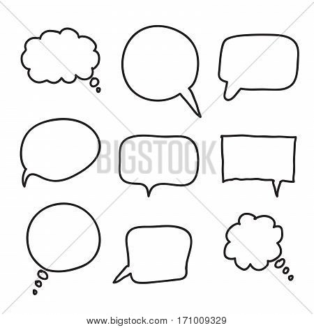 flat black speech bubbles. hand drawn icons on a white background