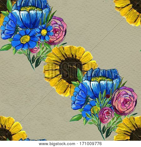 Seamless pattern with colorful flowers. Floral watercolor background. Blue wildflowers, pink roses and sunflowers.