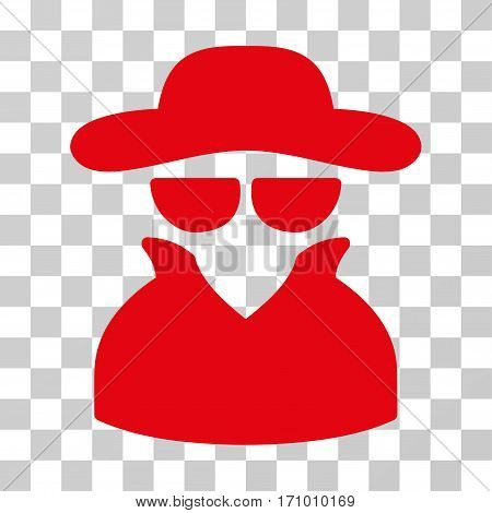 Spy icon. Vector illustration style is flat iconic symbol red color transparent background. Designed for web and software interfaces.