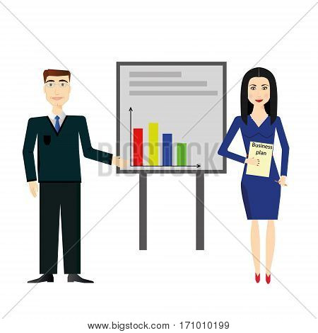 Businessman and businesswoman making presentation explaining charts on a grey board. Business seminar. Flat style vector illustration isolated on white background.
