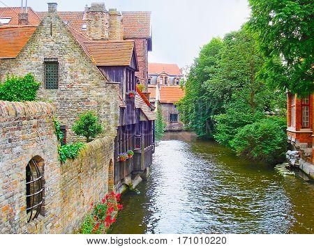 Den Dijver Canal In Bruges