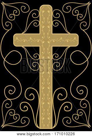 Classical luxury funereal decoration with golden crucifix with golden floral decoration and swirly elements on black background, burial decoration in victorian style