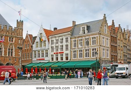 The Restaurants Of Markt Square In Bruges