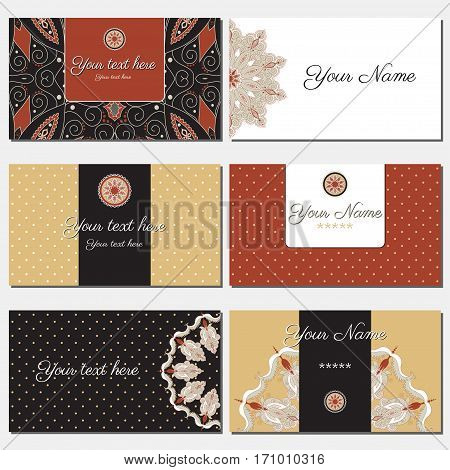 Set of six horizontal business cards. Oriental pattern. Complied with the standard sizes.