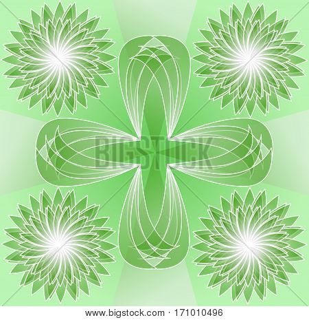 Green tile with abstract floral shapes, transparent elements, horizontal and vertical symmetry, white outlines