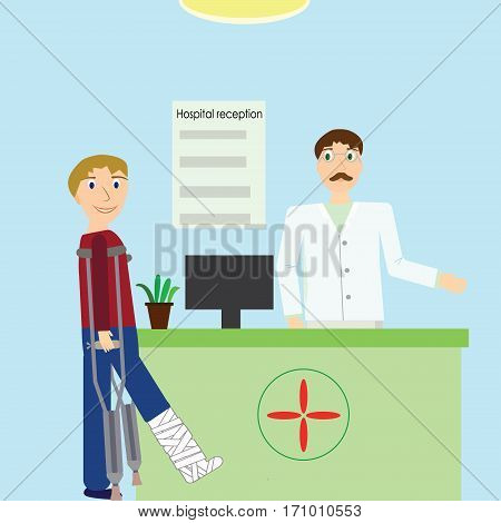 Vector illustration hospital reception with doctor and patient in crutches with broken leg.