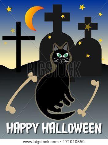 Happy halloween post card. Halloween scenery. Halloween black cat on cemetery. Ghostly halloween picture. Spooky halloween cemetery. Dangerous halloween motif.