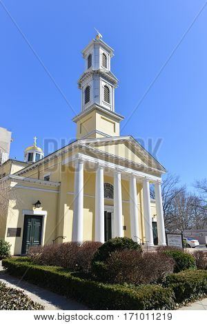 Washington, DC - MARCH 14, 2014: St. John's Episcopal Church, Lafayette Square. This small church knows as The Church of the Presidents and located at 16th and H Streets NW, in Washington, D.C.