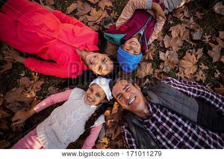 Overhead portrait of happy family forming huddle while lying on field