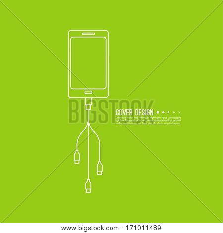Abstract background with charge mobile phones. usb cable is connected to the smartphone. The concept  power charging. Vector icon. connection with the devices.