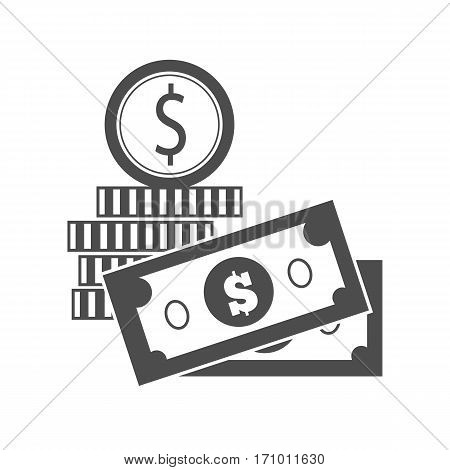 Bills and coins vector monochrome, black. Dollar banknotes and gold coin illustration for investment, gambling, savings, winings concepts, icon, logo design. Isolated on white background.