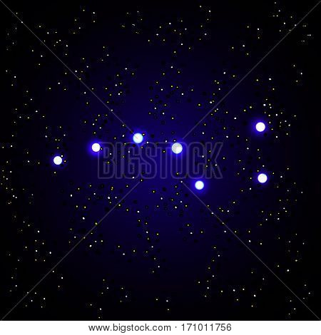 Vector illustration of Constellation the Great Bear with stars on dark blue background.