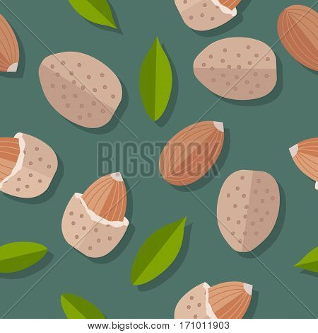 Almond nuts seamless pattern. Ripe almond kernels with leaves in flat. Almond on a dark green background. Several almond kernels. Healthy vegetarian food. Vector illustration