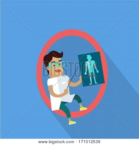 Science alphabet vector concept. Flat style. ABC. Scientist man in white gown standing with pointer and human anatomical picture in hand, letter O behind. Educational glossary. On blue background