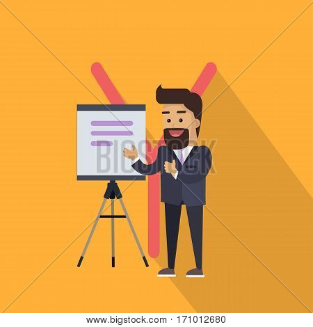 Science alphabet. Letter - Y. Scientists in business suit make a presentation. Simple colored letters and scientist character. Scientific research, science lab, science test, technology illustration.